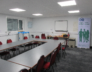 Skills centre with tables set up in centre